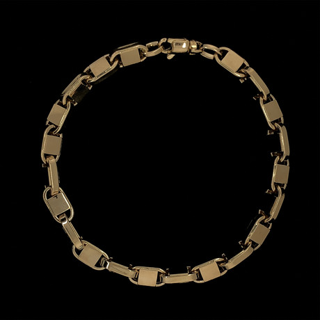 Solid 18K Yellow Gold Plain Puff Mariner Bracelet