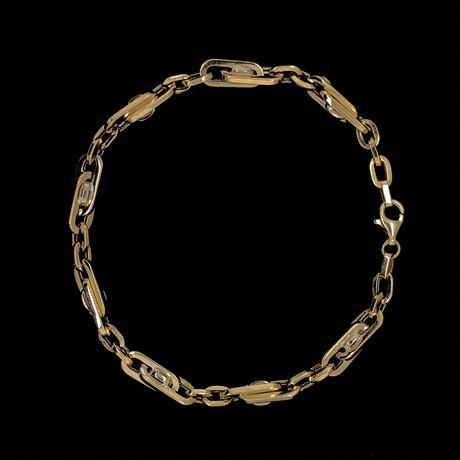Solid 18K Yellow Gold Interlocked Rolo Link Bracelet