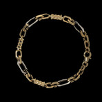 Solid 18K Yellow Gold Rolo + Cylinder Bracelet