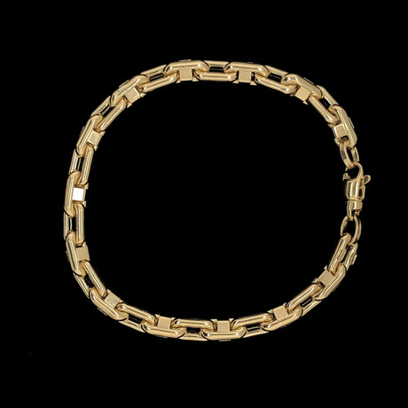 Solid 18K Yellow Gold Interlocked Anchor + Mariner Link Bracelet
