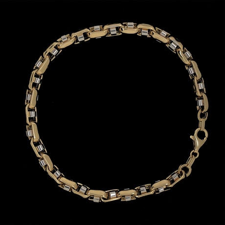 Solid 18K Yellow Gold Open Round Box Two-Tone Link Bracelet