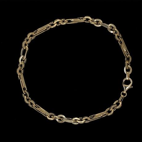 Solid 18K Yellow Gold Elongated Bar Link Bracelet