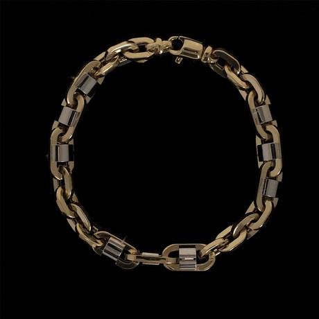 Solid 18K Fancy Oval Patterned Two-Tone Link Bracelet // 8mm // Yellow