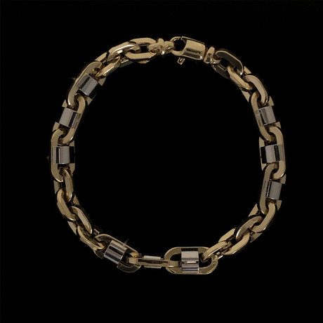 Solid 18K Yellow Gold Fancy Oval Patterned Two-Tone Link Bracelet