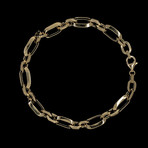 Solid 18K Yellow Gold Long Paperclip Link Bracelet