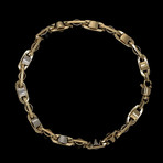 Solid 18K Two-Tone Gold Shiny Mirror Mariner Bracelet