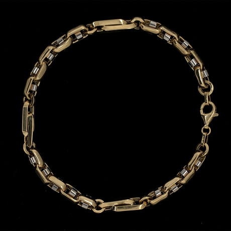 Solid 18K Yellow Gold Closed Mariner + Elongated Anchor Bracelet