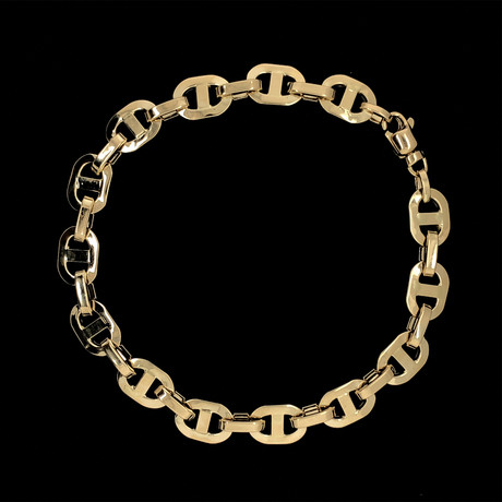 Solid 18K Yellow Gold Puff Mariner Bracelet