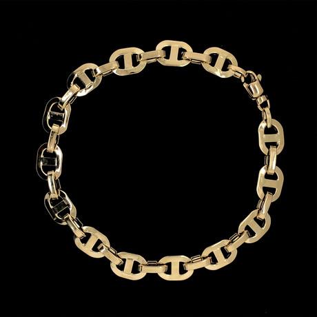 Solid 18K Puff Mariner Bracelet // 8mm // Yellow