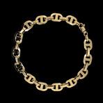 Solid 18K Yellow Gold Puff Mariner Bracelet