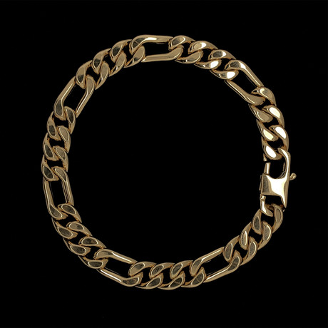 Solid 18K Yellow Gold Figaro Bracelet