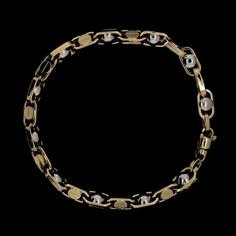 Solid 18K Yellow Gold Chambered Ball Links Bracelet