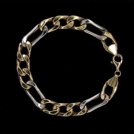 Solid 18K Yellow Gold Two-Tone Figaro Bracelet