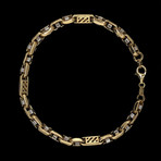 Solid 18K Yellow Gold Fancy Patterned Round Box Link Bracelet
