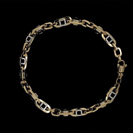 Solid 18K Two-Tone Gold Open Mariner Link Bracelet