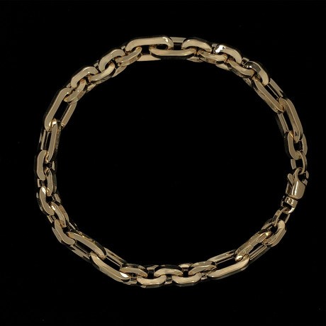 Solid 18K Yellow Gold Rolo Chain Link Bracelet