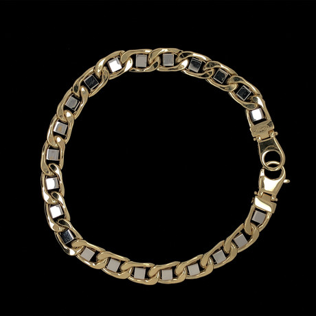Solid 18K Yellow Gold Two-Tone Mariner Link Bracelet