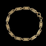 Solid 18K Yellow Gold Striped Mariner Link Bracelet