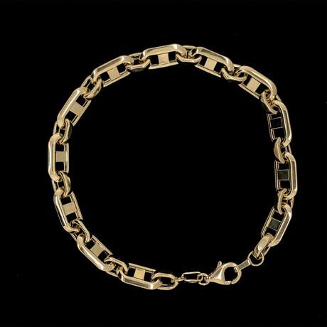 Solid 18K Yellow Gold Patterned Mariner Link Bracelet