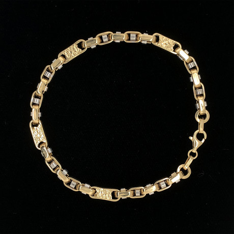 Solid 18K Yellow Gold Fancy Nugget Two-Tone Link Bracelet
