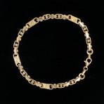 Solid 18K Yellow Gold Fancy Nugget Two-Tone Link Bracelet
