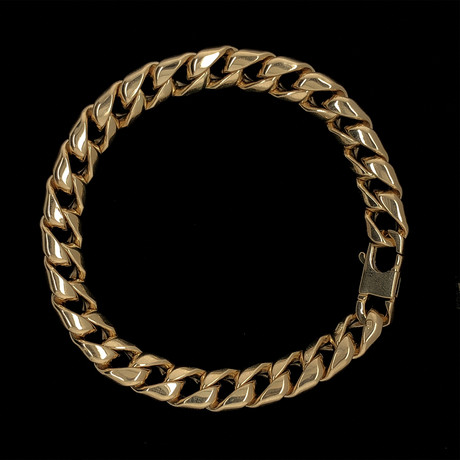 Solid 18K Yellow Gold Cuban Link Bracelet