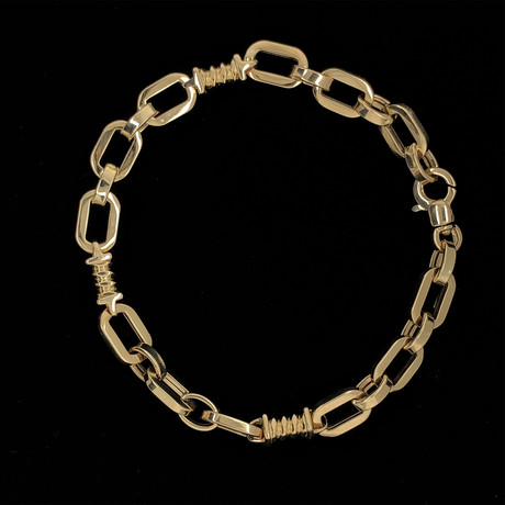 Solid 18K Yellow Gold Open O-Link Bracelet