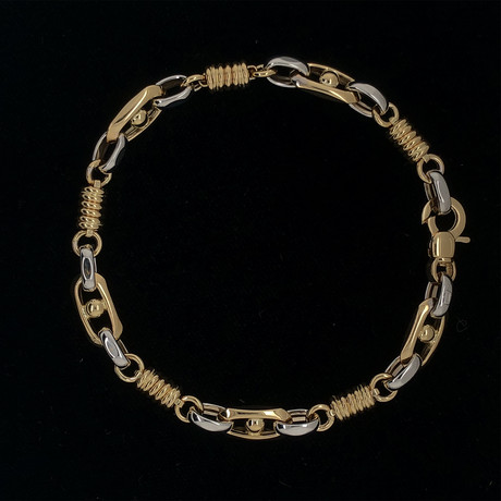 Solid 18K Yellow Gold 3 Patterned Rolo Bracelet