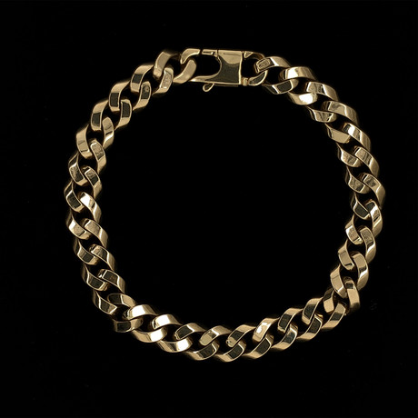 Solid 18K Yellow Gold Squared Curb Link Bracelet
