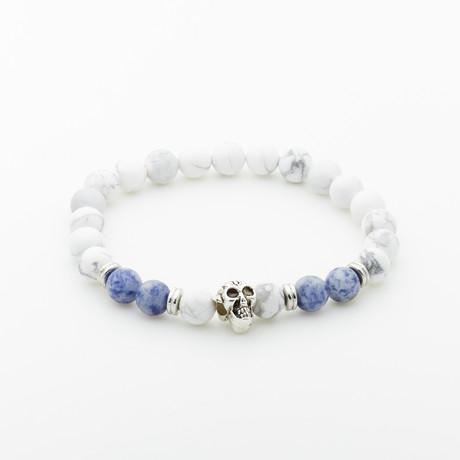 Jean Claude Jewelry // Skull + Howlite + Agate Beaded Bracelet // White + Blue