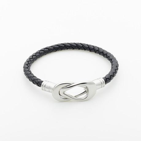Jean Claude Jewelry // Leather Bracelet + Infinity Hook // Black + Silver