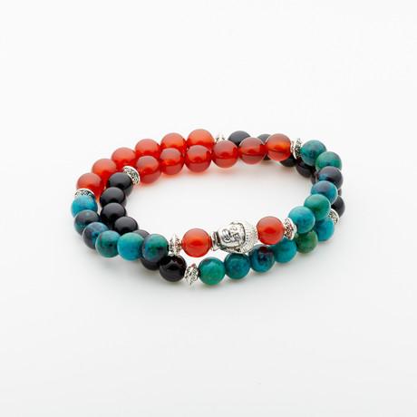 Jean Claude Jewelry // Double Wrap Turquoise + Agate Buddha Bracelet // Multicolor