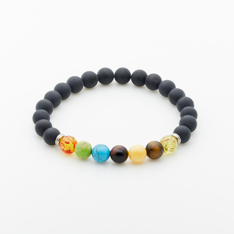 Jean Claude Jewelry // Lava Stone + Agate + Amber + Sodalite Beaded Bracelet // Multicolor