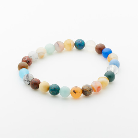 Jean Claude Jewelry // Agate + Quartz Beaded Bracelet // Multicolor