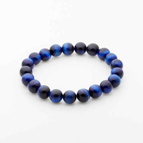 Jean Claude Jewelry // Madagascar Tiger Eye Beaded Bracelet // Blue