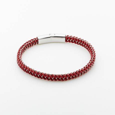 Jean Claude Jewelry // Leather Bracelet // Burnt Orange + Silver