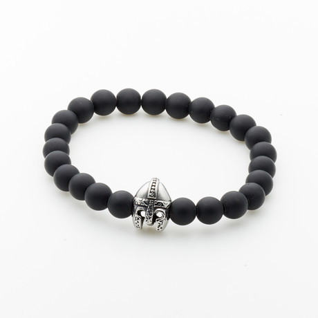 Jean Claude Jewelry // Matte Onyx + Antique Helmet Bracelet // Black + Silver