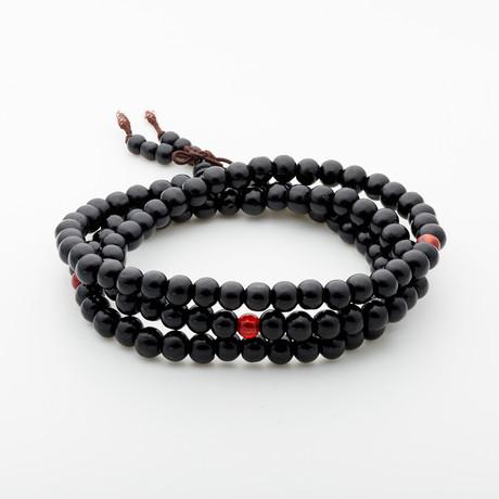 Jean Claude Jewelry // Triple Wrap Wood Bead Buddha Bracelet // Black + Red