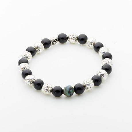 Dell Arte // Onyx + Lava Stone + Bohemian Crystal Beaded Bracelet // Black + Silver