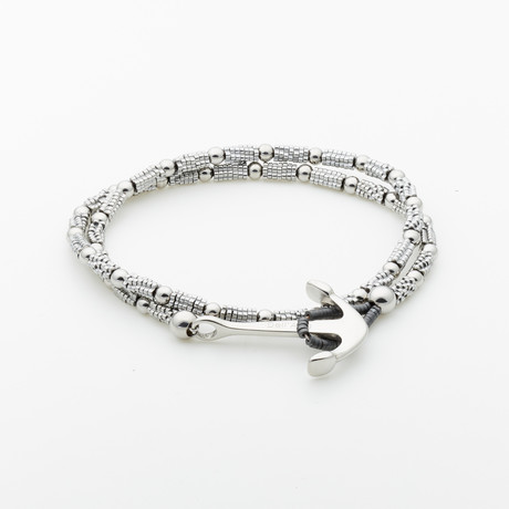 Dell Arte // Hematite Beaded Wrap Bracelet // Silver
