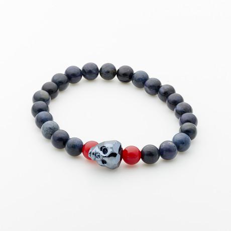 Jean Claude Jewelry // Dumorite Stone Bracelet + Agate + Swarovski Crystals // Red + Black