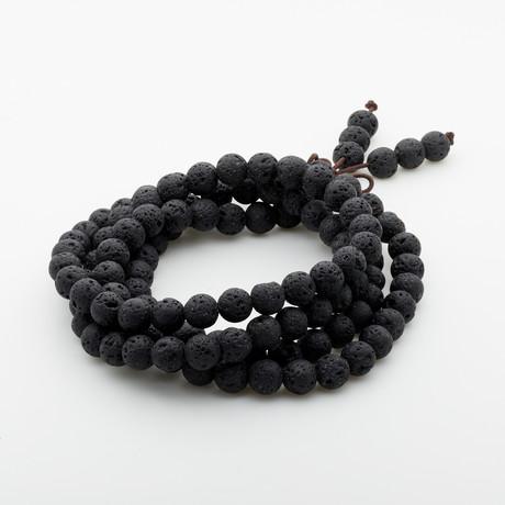 Jean Claude Jewelry // Buddhist Prayer Beads + Lava Stone Bracelet // Black