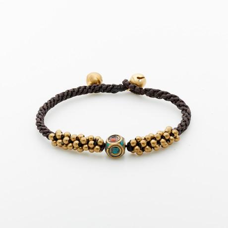 Jean Claude Jewelry // Spiritual Bronze Braided Wrap Bracelet // Multicolor