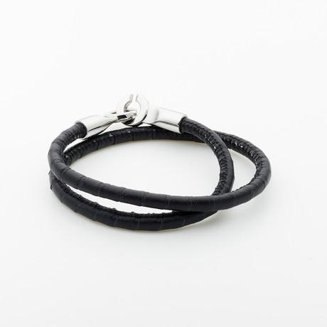 Jean Claude Jewelry // Double Wrap Leather Bracelet // Black + Silver