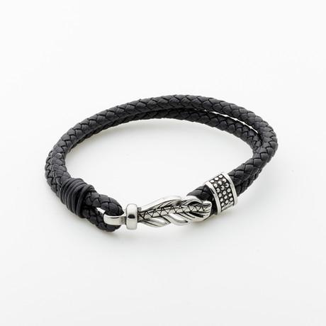 Jean Claude Jewelry // Lucky Feather Leather Bracelet // Black + Silver
