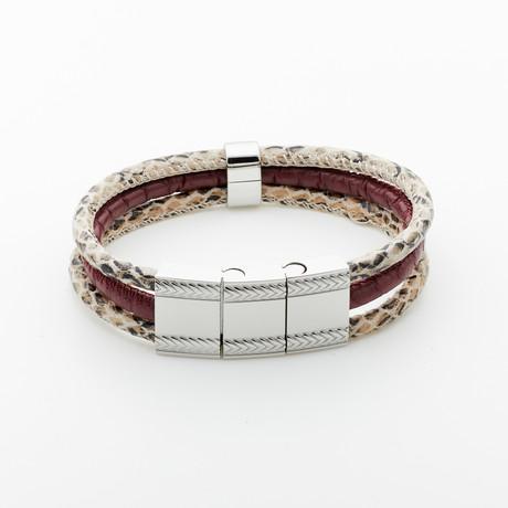 Jean Claude Jewelry // Snake Leather Buckle Bracelet // Multicolor