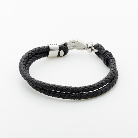 Jean Claude Jewelry // Lucky Feather Leather Bracelet // Black + Silver