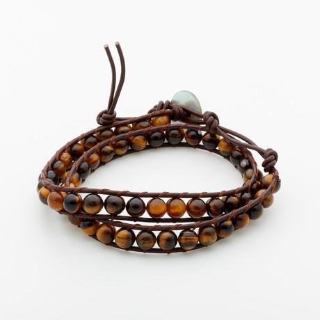 Jean Claude Jewelry // Tiger Eye Stone Bead Double Wrap Bracelet