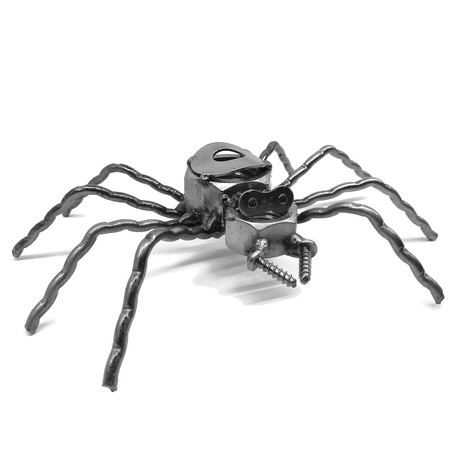 Steel Scrap Metal Spider Figurine