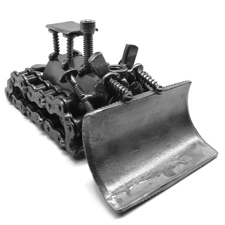 Steel Scrap Metal Bulldozer Figurine